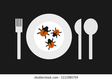 Edible insect and bugs are served on the plate. Disgusting meal and alternative nourishment and diet. Vector illustration