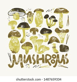 Edible Mushrooms poster. Linocut old style. Hand drawn vector illustration. Natural colors.