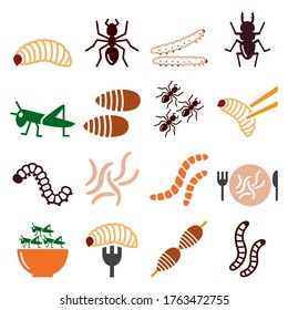 Edible worms and insects vector icons set - alternative source on protein in food. Food and nature color icons set - maggots, bugs isolated on white