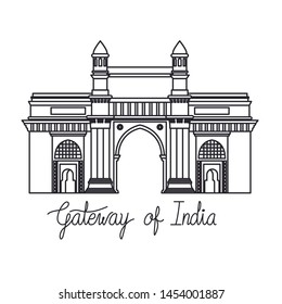 edification of gateway of india isolated icon