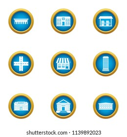 Edifice icons set. Flat set of 9 edifice vector icons for web isolated on white background