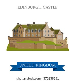 Edinburgh Castle in Scotland, United Kingdom. Flat cartoon style historic sight showplace attraction web site vector illustration. World countries cities vacation travel sightseeing collection.
