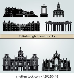 Edinburgh landmarks and monuments isolated on blue background in editable vector file
