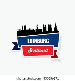 Edinburgh ribbon banner - vector illustration