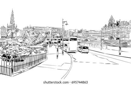 Edinburgh. Scotland. Hand drawn city sketch. Vector illustration.