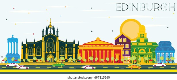 Edinburgh Scotland Skyline with Color Buildings and Blue Sky. Vector Illustration. Business Travel and Tourism Concept with Historic Buildings.