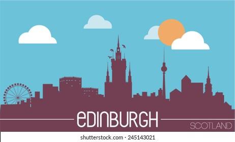 Edinburgh Scotland skyline silhouette flat design vector illustration.