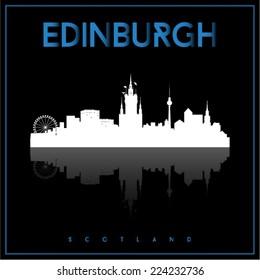Edinburgh, Scotland skyline silhouette vector design on parliament blue and black background.