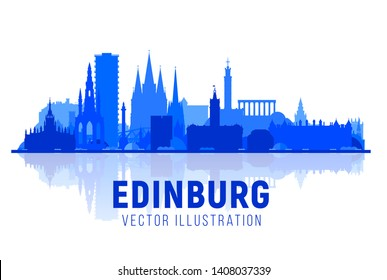Edinburgh Scotland (UK) city silhouette with panorama in white background. Vector Illustration. Business travel and tourism concept with modern buildings. Image for banner or web site.