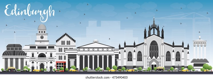 Edinburgh Skyline with Gray Buildings and Blue Sky. Vector Illustration. Business Travel and Tourism Concept with Historic Buildings. Image for Presentation Banner Placard and Web Site.
