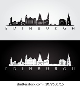 Edinburgh skyline and landmarks silhouette, black and white design, vector illustration.