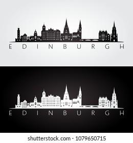 Edinburgh skyline and landmarks silhouette, black and white design, vector illustration.