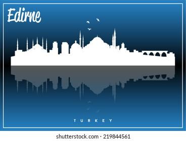 Edirne, Turkey skyline silhouette vector design on parliament blue background.