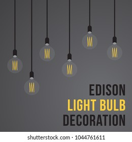 Edison light bulb decoration in flat design. Home interior decoration lights.