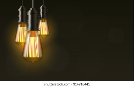 Edison light bulb on dark vector background with copy space