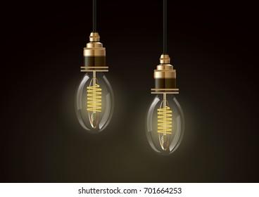 Edison light bulb on dark, vector design element