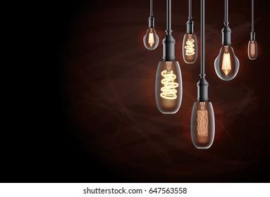 Edison Light Bulb. Vector Illustration.