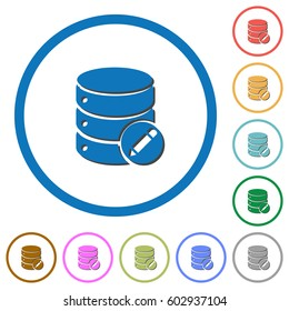Edit database flat color vector icons with shadows in round outlines on white background