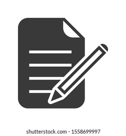 Edit icon with document and pencil in simple vector style