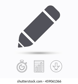 Edit icon. Pencil for drawing symbol. Stopwatch, chart graph and download arrow. Linear icons on white background. Vector