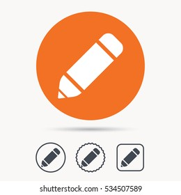 Edit icon. Pencil for drawing symbol. Orange circle button with web icon. Star and square design. Vector