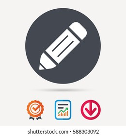 Edit icon. Pencil for drawing symbol. Report document, award medal with tick and new tag signs. Colored flat web icons. Vector