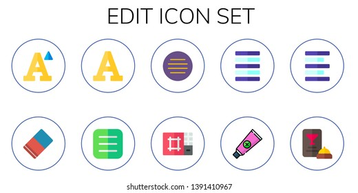 edit icon set. 10 flat edit icons.  Simple modern icons about  - font, eraser, menu, editor, justify, paste, left alignment