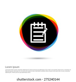 Edit Notes Icon, White pictogram icon creative circle Multicolor background. Vector illustration. Flat icon design style