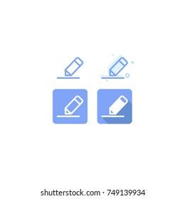 Edit pencil blue icon set design. on white background. vector illustration. logo. web. Symbols
