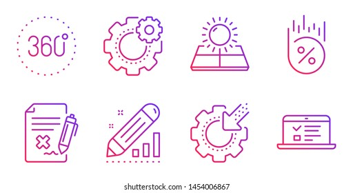 Edit statistics, Reject file and Seo gear line icons set. Sun energy, Loan percent and Cogwheel signs. 360 degrees, Web lectures symbols. Seo manage, Decline agreement. Technology set. Vector