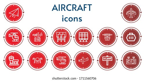 Editable 14 aircraft icons for web and mobile. Set of aircraft included icons line Send, Aeroplane, Helicopter, Plane, Seats, Seat, Drone, Carrier, Airport, Airplane, War, Departure