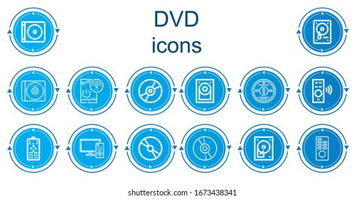 Editable 14 dvd icons for web and mobile. Set of dvd included icons line Dvd, Hard drive, Cd, Remote control, Compact disc, Hard disk, Hard disc