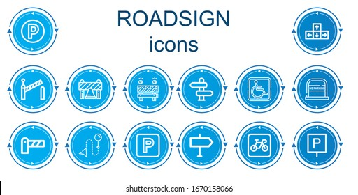 Editable 14 roadsign icons for web and mobile. Set of roadsign included icons line Parking, Direction, Barrier, No parking