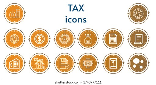 Editable 14 tax icons for web and mobile. Set of tax included icons line Coin, Dollar, Money bag, Invoice, Receipt, Tax office, Real estate, Bill