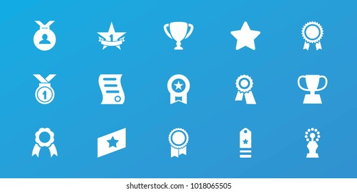 Editable 15 best icons: award, medal, star, ribbon, bill of house sell, trophy, 1st place star