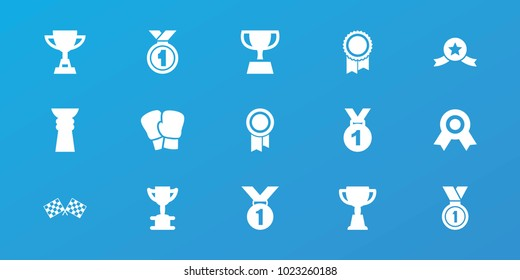 Editable 15 champion icons: trophy, medal, boxing gloves, finish flag