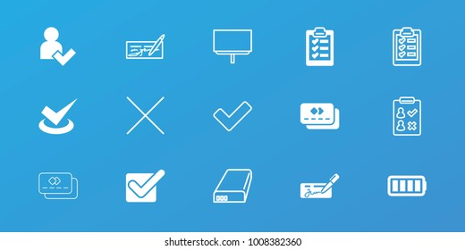 Editable 15 check icons: ful battery, clipboard, add user, tick, board, check, check list, cancel, battery
