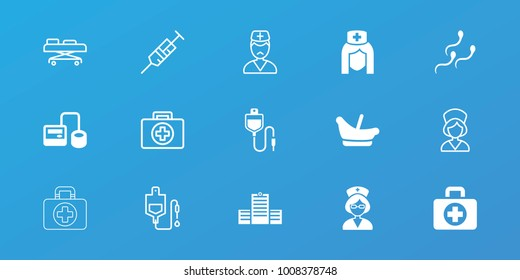 Editable 15 clinic icons: baby basket, blod pressure tool, nurse, sperm, first aid, syringe, drop counter, doctor, hospital stretch