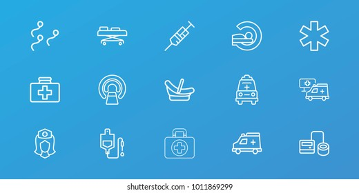 Editable 15 clinic icons: baby basket, first aid kit, syringe, blod pressure tool, drop counter, mri, medical sign, nurse, ambulance, hospital, sperm, hospital stretch