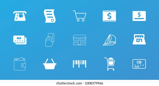 Editable 15 commerce icons: atm money withdraw, shopping basket, dollar card, shop, bill of house sell, credit card, sailboat, shopping cart, barcode, wallet