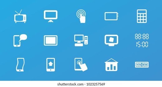 Editable 15 display icons: graph on board, atom on display, touchscreen, tablet, pc, home on phone display, digital time, digital clock, board, calculator