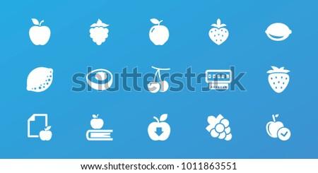 editable 15 fruit icons apple cherry のベクター画像素材