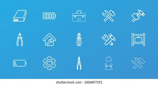 Editable 15 maintenance icons: luggage storage, hummer and wrench, pliers, hummer, wrench hummer, heart in gear, battery, ful battery, low battery, home repair, toolbox