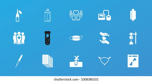 Editable 15 medicine icons: no hair in skin, test tube, blod pressure tool, ampoule, x ray, hands holding heart, pipette, medical group, medical mask, bladder, spray paint