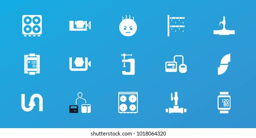 Editable 15 pressure icons: pipe, cooker, vice clamp, angry emot, water pipe, blod pressure tool, blood pressure measure