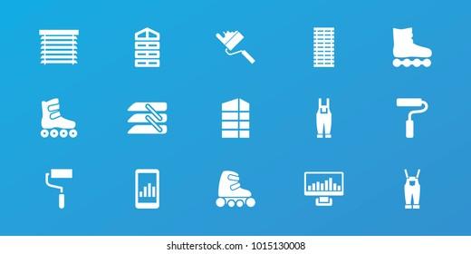 Editable 15 roller icons: shutter blinds, roller, graph on display, roller skate, gardener jumpsuit, blinds, window shutter