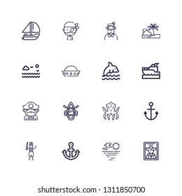 Editable 16 anchor icons for web and mobile. Set of anchor included icons line Pirate, Sea, Anchor, Kraken, Lifeboat, Yatch, Dolphin, Sailor hat, Beach, Hipster on white background
