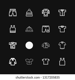 Editable 16 apparel icons for web and mobile. Set of apparel included icons line Sleeveless, Tshirt, Shirt, Hoodie, Polo shirt, Clothing, Shorts, Winter hat on black background