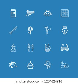 Editable 16 art icons for web and mobile. Set of art included icons line Cloud, Microphone, Burger, Fish, Sunglasses, Maloik, Flirty, Witch, Pen, Film director on blue background