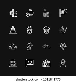 Editable 16 asia icons for web and mobile. Set of asia included icons line Sumo, Taj mahal, Flag, Dojo, Ninja, Dumpling, Elephant, Onigiri, Bowl, Chinese, Geisha on black background